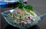 Салат с капустой и краб палочками и